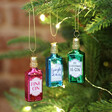 Lisa Angel with Sass & Belle Set of 3 Mini Gin Bottles Baubles