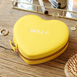 Personalised Initials Heart Travel Jewellery Case in Yellow
