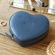 Personalised Initials Heart Travel Jewellery Case in Navy
