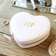 Personalised Initials Heart Travel Jewellery Case in Pink