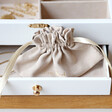 Personalised Flowers White Embroidered Jewellery Box