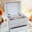 Inside of Personalised Birth Flower Jewellery Box with Pull Drawers