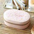 Personalised Ladies' Metallic Stars Oval Travel Jewellery Box in Pink