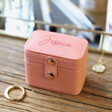 Women's Personalised Petite Travel Ring Box in Pink