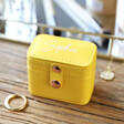 Ladies' Personalised Petite Travel Ring Box in Yellow
