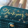Close up of Personalised Starry Night Teal Velvet Petite Travel Ring Box