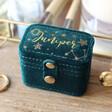 Lisa Angel Teen's Personalised Starry Night Teal Velvet Petite Travel Ring Box