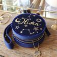 Lisa Angel Women's Personalised Starry Night Navy Velvet Mini Round Jewellery Case