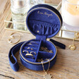Inside of Personalised Starry Night Navy Velvet Mini Round Jewellery Case