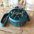 Lisa Angel Ladies' Personalised Starry Night Teal Velvet Mini Round Jewellery Case