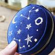 Starry Night Velvet Mini Round Jewellery Case in Navy