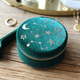 Lisa Angel Ladies' Starry Night Velvet Mini Round Jewellery Case in Teal