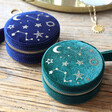Lisa Angel Starry Night Velvet Mini Round Jewellery Cases in Teal and Blue
