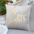 Personalised Square Velvet Cushion in Grey