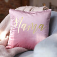 Personalised Square Velvet Cushion in Pink