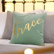 Personalised Square Velvet Cushion in Green