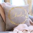 Lisa Angel Personalised Wreath Square Velvet Cushion