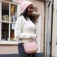 Personalised Faux Leather Cross Body Handbag on Model