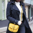 Personalised Vegan Leather Crossbody Handbag in Yellow on Model