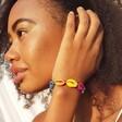 Ladies' Adjustable Rainbow Shell Bracelet on Model