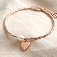 Lisa Angel Rose Gold Personalised Dainty Seed Bead & Pearl Bracelet