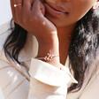 Crystal Leaves Bangle in Rose Gold on Model
