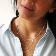 Crystal Star Charm Choker Necklace in Silver on Model