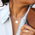 Disc Chain Necklace in Silver on Model
