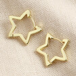 Lisa Angel Ladies' Gold Star Hoop Earrings