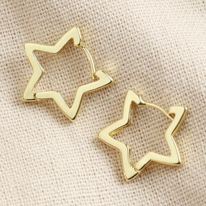 Gold Star Hoop Earrings