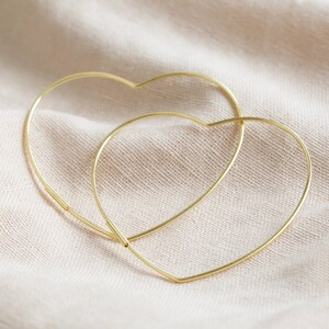 Large Thin Heart Hoop Earrings in Gold Sterling Silver