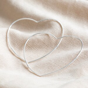 Large Thin Heart Hoop Earrings in Sterling Silver