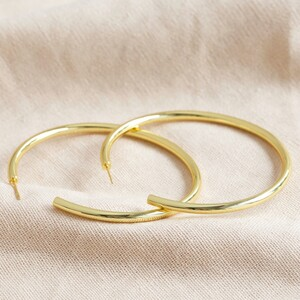 Large Tube Hoop Earrings in Gold