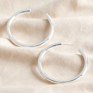 Medium Tube Hoop Earrings in Silver