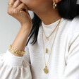 Gold Framed Sixpence Coin Pendant Necklace on Model