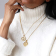 Personalised Gold Geometric Sixpence Coin Pendant Necklace on Model