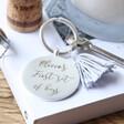 Lisa Angel Personalised Engraved Disc and Tassel Keyring