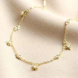 Crystal Star Charm Choker Necklace in Gold