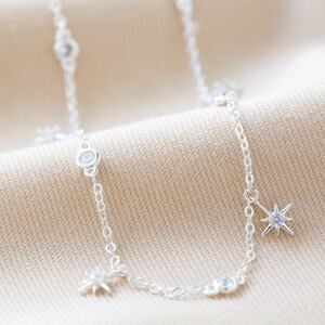 Crystal Star Charm Choker Necklace in Silver
