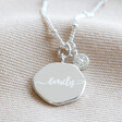Lisa Angel Silver Personalised Organic Shape and Birthstone Charm Necklace