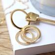 Personalised Interlocking Russian Ring Keyring in Gold
