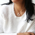 Personalised Mixed Interlocking Rings Necklace on Model