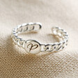 Lisa Angel Silver Personalised Initial Chain Ring