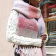 Personalised Embroidered Checkered Oversized Scarf in Red and Pink on Model