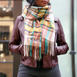 Personalised Oversized Colourful Tartan Scarf on Model