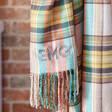 Close up of Personalised Oversized Colourful Tartan Scarf