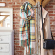 Lisa Angel Oversized Personalised Embroidered Colourful Tartan Scarf
