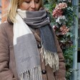 Personalised Grey Block Winter Scarf on Model