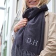 Personalised Embroidered Unisex Soft Grey Herringbone Scarf on Model