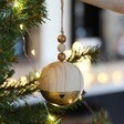 Metallic Gold Dipped Wooden Bauble